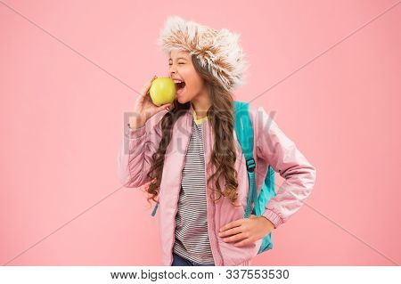 Schoolgirl Happy Daily Life. Eating Natural Food. Lunch Time. Winter Semester. Teen With Backpack. H