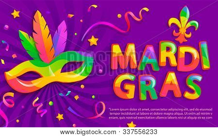 Banner For Mardigras Festive.mask With Feathers For Mardi Gras Carnival Party.traditional Masque For