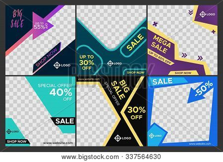 Editable Social Media Sale Templates. Modern Promotion Square Web Banners For Digital Marketing.  Ab