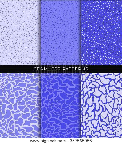 Seamless Patterns Set. Abstract Smooth Liquid Shapes And Lines. Shades Of Blue Texture Swatches Coll