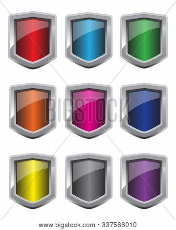 Shield Button Icon Set. Glossy Chrome Metallic Shields. Web Mobile App Concept. Vector Illustration.