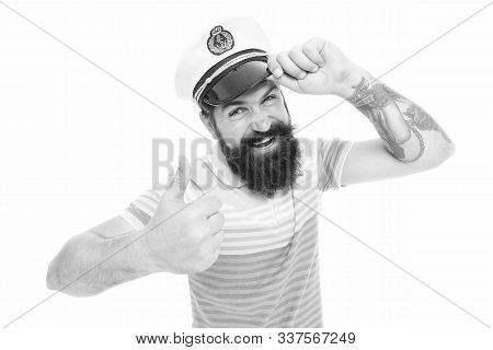 Lets Go Travel. Happy Seaman Give Thumbs Up. Bearded Man Smile With Thumbs Up Gesture. Satisfaction