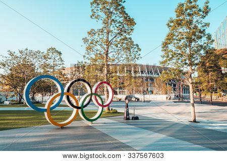 Tokyo, Japan - Nov 1, 2019: Olympic Symbol Logo At Japan New National Stadium In Shinjuku. Tokyo Sum