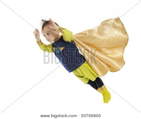 A serious preschool superhero, hands forward, cape blowing as he flies through space to perform a rescue.  On a white background.
