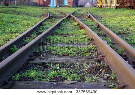 Old Railroad Switch. Directions Of Train Road. A Dilemma Metaphor.
