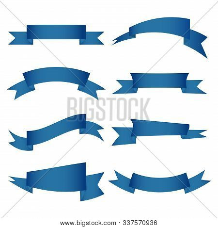 Blue Ribbons Banners Set Isolated On White Background. Multiporpose Tape Signs. Vector Illustration.