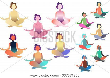 Set Of Abstract Meditated Women In Different Colours. Female Cartoon Character Sitting In Lotus Post
