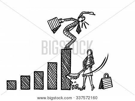 Freehand Drawing Of Business Woman Axing The Growth Chart Of A Male Rival While He Is Complaining. M