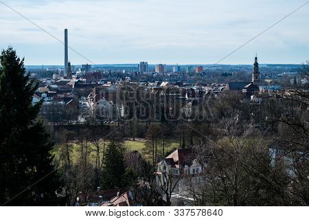 Erlangen In Bavaria Germany Panoramic Cityview At Blue Sky