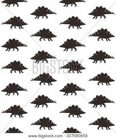 Vector Seamless Pattern Of Black Stegosaurus Dinosaur Silhouette Isolated On White Background