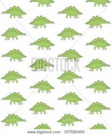 Vector Seamless Pattern Of Green Hand Drawn Doodle Sketch Stegosaurus Dinosaur Isolated On White Bac