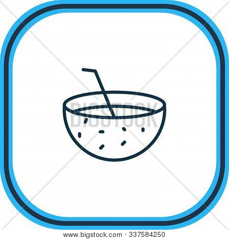 Vector Illustration Of Coconut Drink Icon Line. Beautiful Travel Element Also Can Be Used As Coco Co