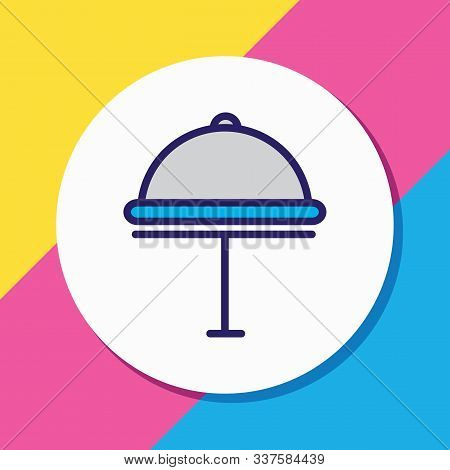 Vector Illustration Of Hotel Delivery Icon Colored Line. Beautiful Hotel Element Also Can Be Used As
