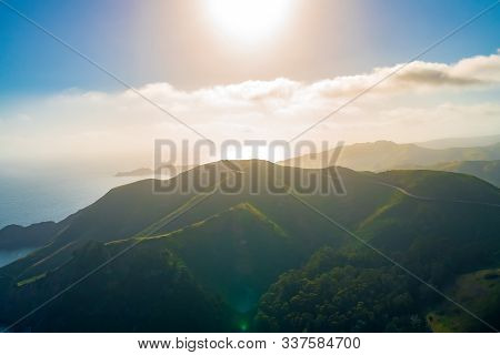 Aerial View Of Marin Headlands And Golden Gate Bay At Sunset