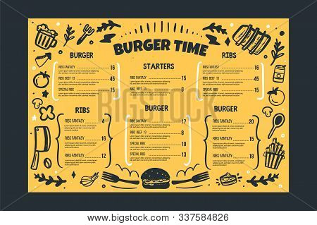 Burger Restaurant Vafe Menu Template On Yellow Background. Grill Bbq Menu, Sketch Cover Template, Am