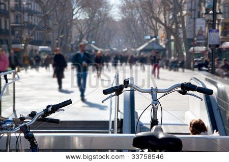 Barcelona Ramblas street life from bicycles poster