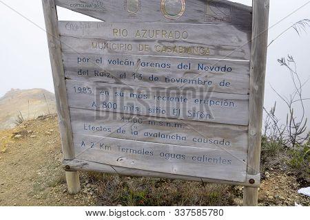 Nevado Del Ruiz, Colombia - January, 30th, 2019: Sign At 4000 M Above Sea Level Marking The Altitude