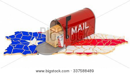 Mailbox On The Puerto Rican Map. Shipping In Puerto Rico, Concept. 3d Rendering Isolated On White Ba