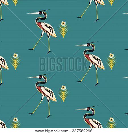Pattern - Heron Motley, Fabulous, Mythology - Vector. Animal World