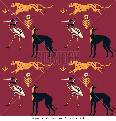 Pattern - Jaguar, Dog, Heron - Fairy Tale, Mythology - Vector. Animal World