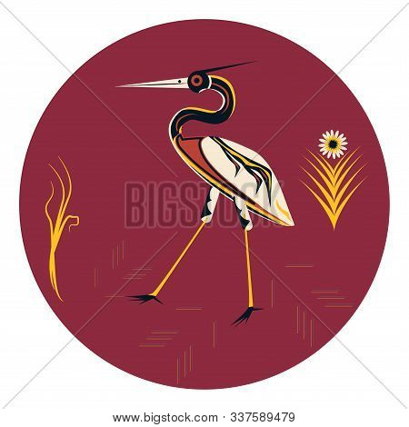 Heron - Bright Fairytale Color - Round Icon, Isolated On White Background - Vector. Animal World. My