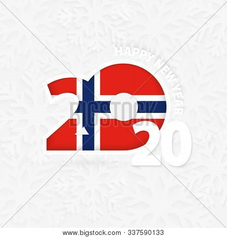 Happy New Year 2020 For Norway On Snowflake Background. Greeting Norway With New 2020 Year.