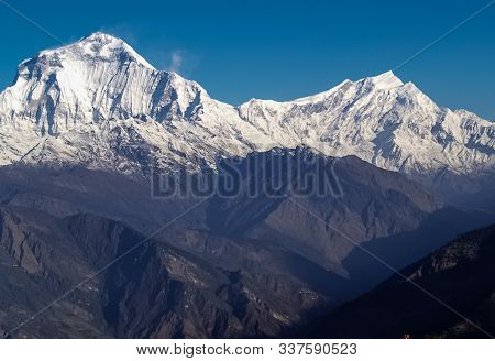 Beautiful And Amazing Mountain View Of Everest Region Over A Mountain Top Covered With Snow, Sagarma