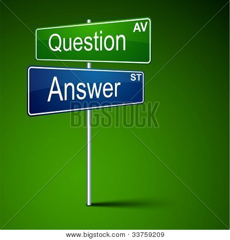 Vector direction road sign with question answer words.