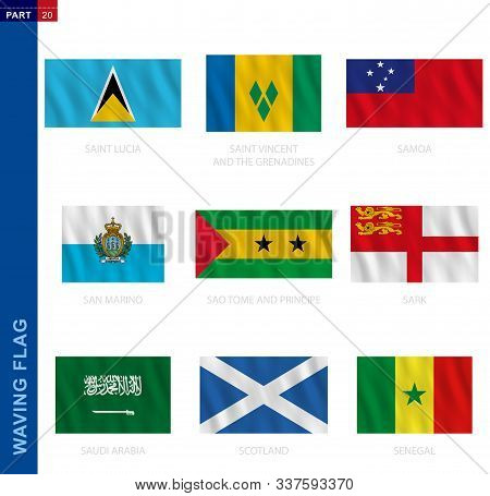 Waving Flag Collection In Official Proportion. 9 Vector Flags: Saint Lucia, Saint Vincent And The Gr