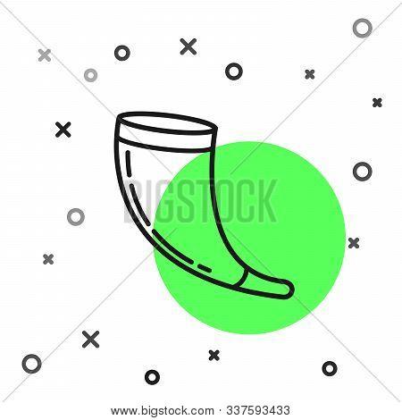Black Line Traditional Ram Horn, Shofar Icon Isolated On White Background. Rosh Hashanah, Jewish New
