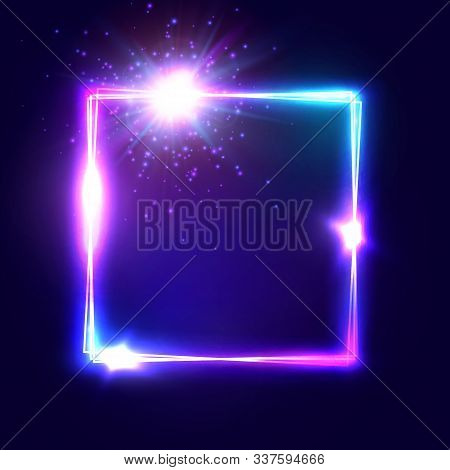 Square Glowing Electric Frame On Dark Blue Neon Background. Technology Border For Advertising Banner