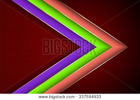 Polygonal Arrow With Gold Triangle Edge Lines Banner Vector Design. Chic Banner Background Template.
