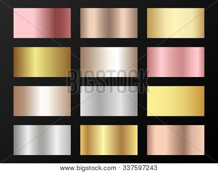 Glossy Golden, Platinum, Bronze, Rose Gold Gradients. Metallic Foil Texture Silver, Steel, Chrome, P