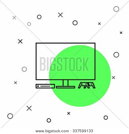 Black Line Video Game Console Icon Isolated On White Background. Game Console With Joystick And Lcd