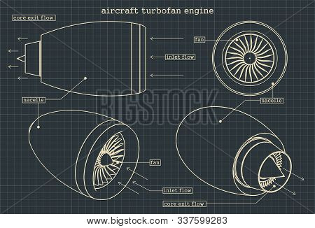 Stylized Vector Illustration Of Drawings Of A Turbofan Engine