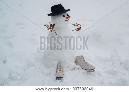 Happy Smiling Snow Man On Sunny Winter Day. Snowmen. Snowman. Happy Funny Snowman In The Snow. Greet