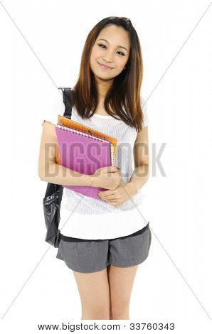 female student portrait smiling and holding a pink notebook