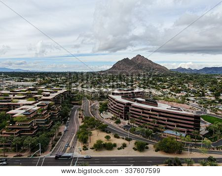 Aerial View Of Scottsdale Desert City In Arizona East Of State Capital Phoenix. Downtowns Old Town S