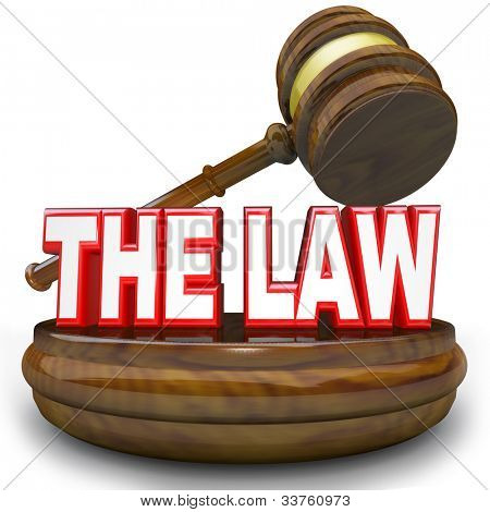 Words The Law on a wooden block with judge's gavel hovering over it, symbolizing, authority, jurisdiction, legislation, government or other authoritative power or rules to decide your fate