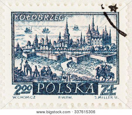 Seattle Washington - October 9, 2019: Stamp Of Kolobrzeg, A Coastal Town Of Poland, With City Wall,