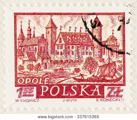 Seattle Washington - October 9, 2019: Stamp Of Opole  Poland, An Historic Medieval City Of Poland, F