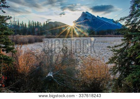 Morning Frost On First Vermillion Lake In Town Of Banff, Canada