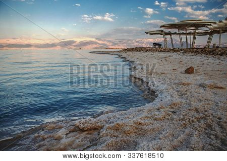 Salty Paradise In Neve Zohar In Israel With Mountain Views Towards Jordan Border