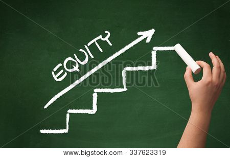 Hand drawing EQUITY inscription with white chalk on blackboard, business concept