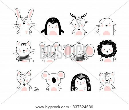 Poster With Cute Animal Portraits For A Card, Baby Shower, Sticker For A Children S Bedroom. Doodle