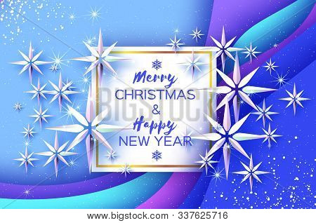 Origami Cristal Ice Paper Snowflakes On Blue Layered Background. Merry Christmas And Happy New Year