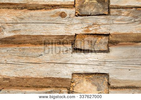 Wooden Log Wall Environmentally Friendly House. Wooden Blockhouse Texture Background