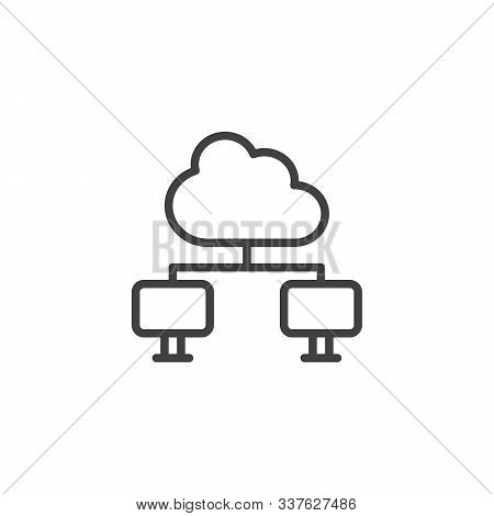 Cloud Computing Connection Line Icon. Network Data Server Linear Style Sign For Mobile Concept And W