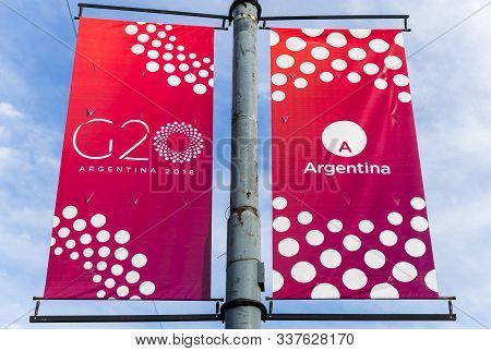 Buenos Aires, Argentina - November 25, 2018: Sign Of G20 Summit