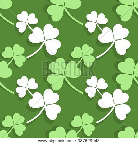 Vector Illustration Of The Leaves Of Clover Background. Simple Seamless Modern Pattern For St. Patri
